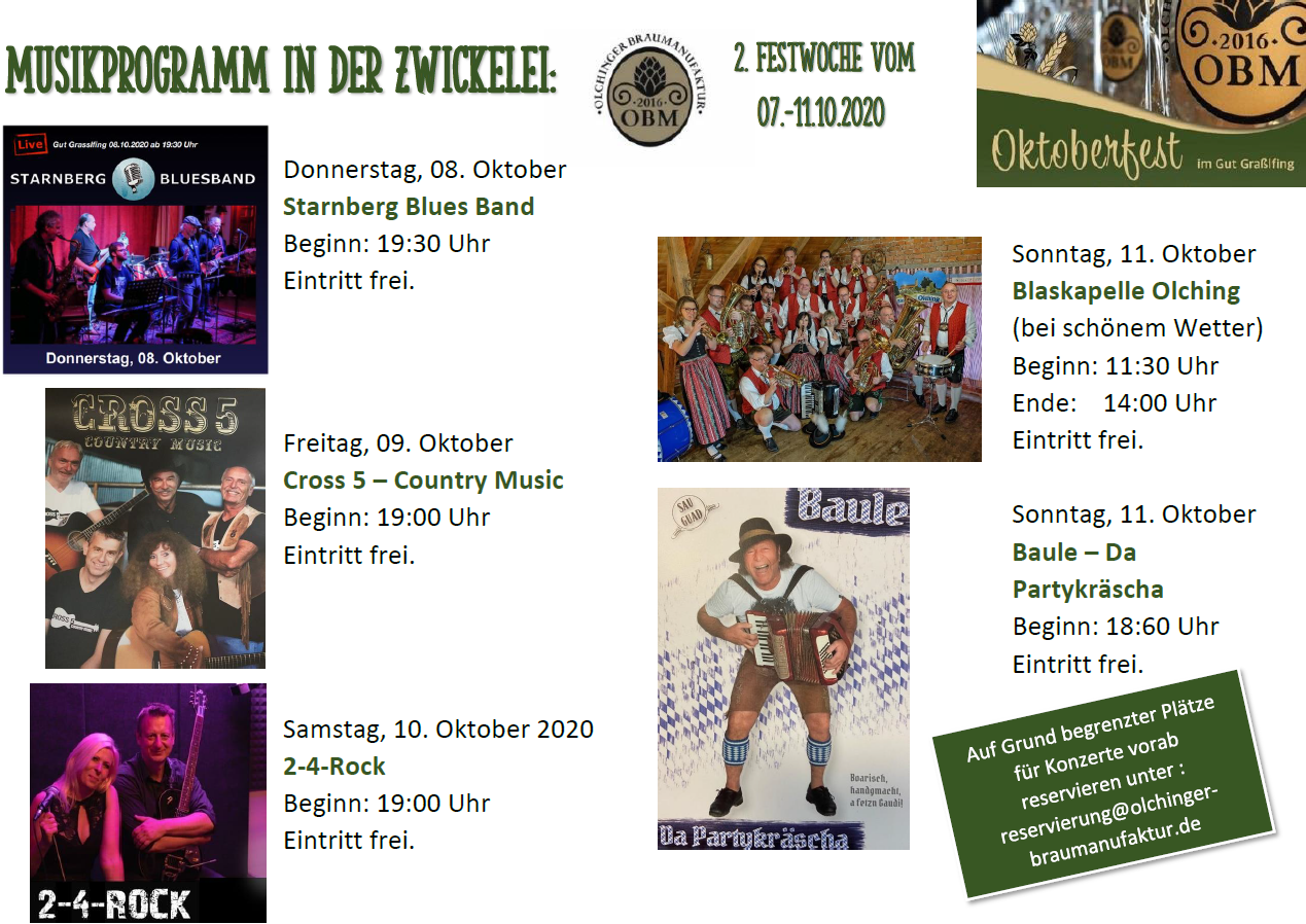 Musikprogramm OBM Oktoberfest 2020